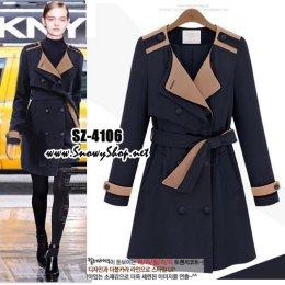 [[*พร้อมส่ง L,XL]] ] [SZ-4106] เสื้อโค้ทกันหนาว เสื้อโค้ทกันหนาวสีน้ำเงิน ซับสีครีมด้านใน พร้อมผ้าผูกเอว
