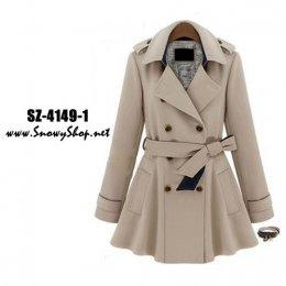 [[*พร้อมส่ง L,XL,2XL]] SZ-4149-1 Shezyy เสื้อโค้ท เสื้อโค้ทกันหนาวสีครีมสไตล์ยุโรป กระดุมหน้า พร้อมเข็มขั