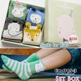 [พร้อมส่ง M(3-5ปี) L(5-8ปี) ] [Cm-015-3] ถุงเท้าเด็กแฟชั่นลายการ์ตูนน่ารัก 4คู่/กล่อง