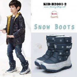 [พร้อมส่ง 27,28,29,30,31,32,33,34,35,36,37,38]  [KID-B2001-2] รองเท้าบู๊ทเด็กสีน้ำเงิน SnowBoots ใส่ลุยหิมะได้กันหนาวติดลบ