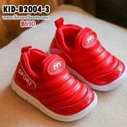 [พร้อมส่ง 21,22,23,24,25,26] [KID-B2004-3] รองเท้าเด็กเล็กสีแดง ผ้าเงา  ลาย M สวมใส่ง่าย ด้านในพื้นนุ่มค่ะ