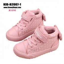 [พร้อมส่ง 18,19,20,21,25,26,27,29,30,31,32,33,34,35,36,37] [KID-B2007-1] รองเท้าบู๊ทเด็กสีชมพูลายจุด SnowBoots ด้านในซับขนกันหนาว ด้านหลังแต่งโบว์น่ารัก