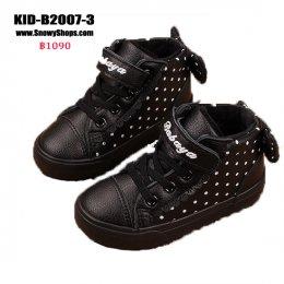 [พร้อมส่ง 18,19,20,21,22,25,26,27,28,29,30,31,32,36,37] [KID-B2007-3] รองเท้าบู๊ทเด็กสีดำลายจุดขาว SnowBoots ด้านในซับขนกันหนาว ด้านหลังแต่งโบว์น่ารัก