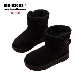 [พร้อมส่ง 26,27,28,29,30,31,32,33,34,36,37] [KID-B2008-1] รองเท้าบู๊ทเด็กสีดำ SnowBoots ด้านในซับขนกันหนาวหนานุ่ม ผ้าหนังกลับ ใส่กันหนาวติดลบอุ่นมาก