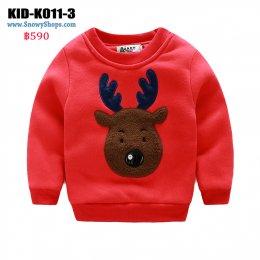 [พร้อมส่ง 90,100,120] [KID-K011-3] เสื้อลองจอนเด็กสีแดง ลายกวางเรนเดีย  ด้านในเสื้อซับขนกันหนาวใส่ติดลบได้ค่ะ