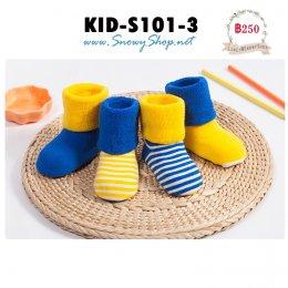 [พร้อมส่ง] [KID-S101-3] ถุงเท้ากันหนาวเด็กสีเหลืองสำหรับ 6เดือน-1ขวบ ผ้าลูกฝูกหนาใส่กันหนาว 1 กล่องมี 4 คู่