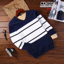 [พร้อมส่ง M,L,XL,2XL,3XL, ] [MK-004-1] เสื้อลองจอนชายสีน้ำเงินแถบขาว ด้านในซับขนวูลนุ่มๆใส่กันหนาวอุ่นมาก