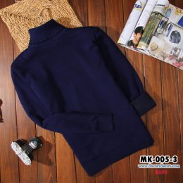 [พร้อมส่ง M,L,XL,2XL,3XL ] [MK-005-3] เสื้อคอเต่าลองจอนชายสีน้ำเงิน ด้านในซับขนวูลนุ่มๆใส่กันหนาวอุ่นมาก