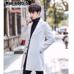[พร้อมส่ง M,L,XL,2XL,3XL,4XL,5XL] [Man-6005-5] เสื้อโค้ทสูทกันหนาวชายสีขาว คอปกยาว ติดกระดุมด้านหน้า ทรงเรียบหรูและดูดี