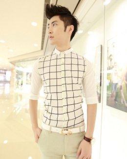 [พร้อมส่ง XL] [Msa-003] SHAN7++เสื้อเชิ๊ต++เสื้อเชิ๊ตผู้ชายสีขาวคอปกลายตาราง