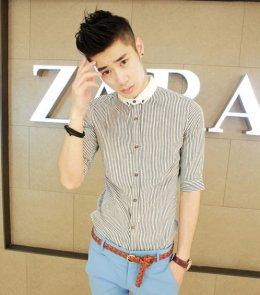 [พร้อมส่ง XL] [Msa-007] SHAN7++เสื้อเชิ๊ต++เสื้อเชิ๊ตผู้ชายสีเทาแขนยาวคอปกเล็กสีขาว