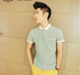 [พร้อมส่งXL] [Msa-017] SHAN7++เสื้อโปโล++เสื้อโปโลผู้ชายสีฟ้าปกขาวแขนสั้น