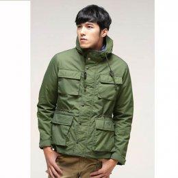 [[พร้อมส่ง XL,2XL,3XL]] [OBM-005] Orange Bear++เสื้อโค้ทกันหนาว++เสื้อโค้ทกันหนาวผู้ชายสีเขียวซิปหน้า กระดุม พร้อมหมวกฮู้ด