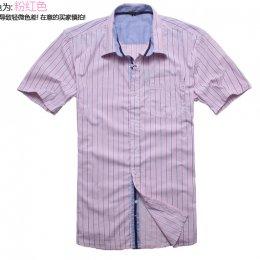 [[พร้อมส่ง G]] [TS-002] TS ++เสื้อ++ เสื้อเชิ้ตแขนสั้นลายทางสีชมพู