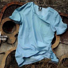 [[พร้อมส่ง S]] [TS-004] TS ++เสื้อ++ เสื้อยืดสีฟ้ามีกระเป๋าที่อกด้านซ้ายค่ะ