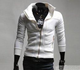 [พร้อมส่ง L,XL] [Tp-021] Tp++เสื้อกันหนาว++เสื้อกันหนาวผู้ชายสีขาว ซิปกลาง เนื้อผ้ายืดหยุ่นได้