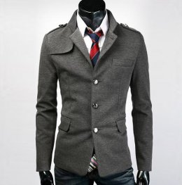 [[พร้อมส่ง XL]] [Tp-033] Tp++เสื้อสูท++เสื้อสูทกันหนาวผู้ชายสีเทา แขนยาว