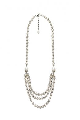 Lace Pearl Three Tiers Long Necklace