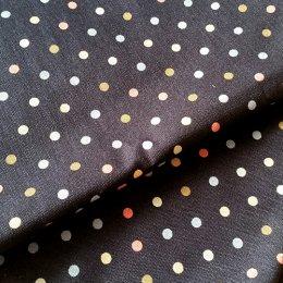 ผ้า cotton canvas ไทยลายจุดหลากสี 5 mm.พื้นกรม ขนาด 1/4 เมตร (50*55 ซม.)