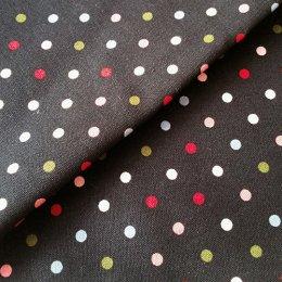 ผ้า cotton canvas ไทยลายจุดหลากสี 5 mm.พื้นดำ ขนาด 1/4 เมตร (50*55 ซม.)