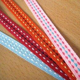 เทปผ้าลายเส้นปะสีสดใส ขนาด 1 cm. ราคาหลาละ