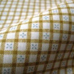ผ้า cotton ญี่ปุ่น ตารางน่ารักโทนเหลือง ขนาด 1/8 เมตร (25*55 ซม.)