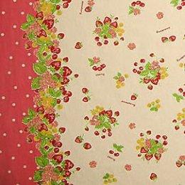 ผ้า cotton & linen ญี่ปุ่น ถุงแป้ง บล๊อคลายสตอเบอรี่โทนชมพู ขนาด 1/4 เมตร (50*70 ซม.