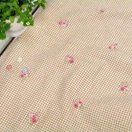 ผ้า cotton & linen ญี่ปุ่นถุงแป้งลายดอกไม้+สก๊อตพื้นโกโก้ ขนาด 1/9 เมตร (33*45ซม.)
