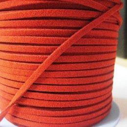 เชือกหนังกลับ เส้นแบนสีแดง ขนาด 0.3 cm. ราคา/หลา