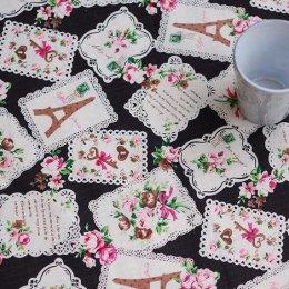 ผ้า cotton & linen ลาย tower rose lace key โทนดำ ขนาด 1/4 เมตร (50*55 ซม.)