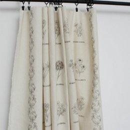 ผ้าบล๊อค Cotton linen ลายดอกไม้ โทนน้ำตาล  ขนาด  76 * 145 cm.