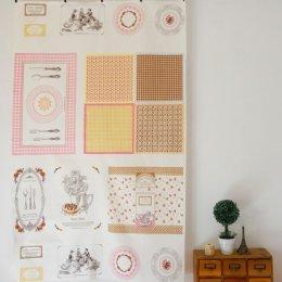 ผ้าบล๊อค Cotton linen Tea Time โทนชมพูเหลือง  ขนาด  80 * 140 cm.