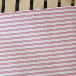ผ้า cotton linen ลายทาง โทนชมพู ขนาด 1/8 หลา (25*70cm.)