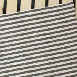 ผ้า cotton linen ลายทาง โทนน้ำตาล  ขนาด 1/4 ม. (50*70cm.)