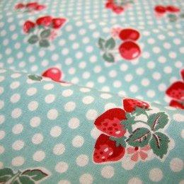 ผ้า cotton ของ A-TWO ลายเชอรี่แดงพื้นฟ้า ขนาด 1/8 m.(25*55 ซม.)
