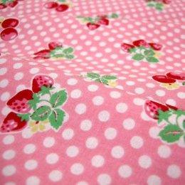 ผ้า cotton ของ A-TWO ลายเชอรี่แดงพื้นชมพู ขนาด 1/8 m.(25*55 ซม.)