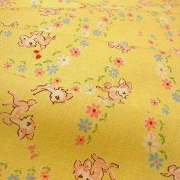 ผ้า cotton ของ A-TWO ลายกวางพื้นเหลือง ขนาด 1/8 m.(25*55 ซม.)