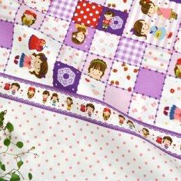 ผ้าบล๊อค Cotton ญี่ปุ่น ลาย Girl Pop Fun โทนม่วง  ขนาด 50 * 110 cm.