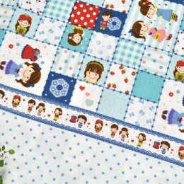 ผ้าบล๊อค Cotton ญี่ปุ่นลาย Girl Pop Fun โทนฟ้า  ขนาด 50 * 110 cm.