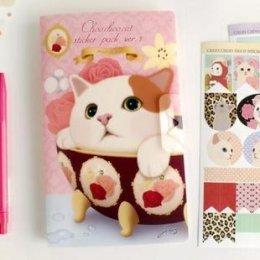 Jetoy cute cat Sticker 8 in 1 ขนาด 12*20 cm.(PVC & Paper)
