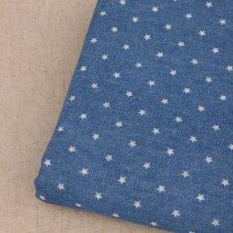 ผ้า Cotton ยีนส์เนื้อบางลายดาวพื้นสีเข้ม สามารถเย็บด้วยมือได้  ขนาด 1/4 หลา (45 x 75 cm.)