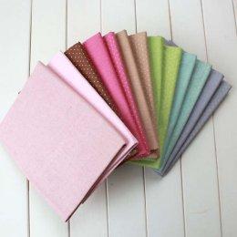 ผ้า Cotton Linen สีพื้นและลายจุด  ขนาด 1/4 m.หลา (50 x 70 cm.) เลือกลายด้านในค่ะ