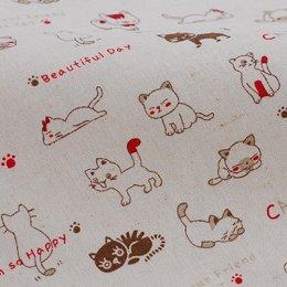 ผ้า cotton linen ลายแมว ขนาด 1/4 m. (50*55 ซม.)