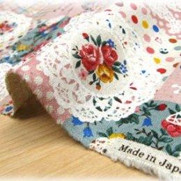 ผ้า cotton linen ญี่ปุ่น ลาย patchwork ดอกพื้นชมพู ขนาด 1/4 m. (50*55 ซม.)