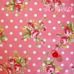 ผ้า cotton ของ A-TWO ลายจุด+ดอก พื้นชมพู ขนาด 1/4 m.(50*55 ซม.)