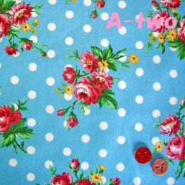 ผ้า cotton ของ A-TWO ลายจุด+ดอก พื้นฟ้า ขนาด 1/4 m.(50*55 ซม.)