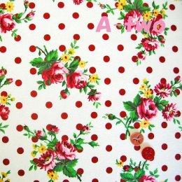 ผ้า cotton ของ A-TWO ลายจุด+ดอก พื้นขาว ขนาด 1/4 m.(50*55 ซม.)