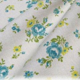 ผ้า cotton & linen ญี่ปุ่น ลายดอกฟ้าพื้นขาว  ขนาด 1/9 เมตร (30 x 50 ซม.)