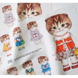 ผ้าฝ้ายผสมลินินเกาหลี น้องแมว Girl ขนาด 47 x 33 cm.