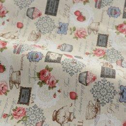 ผ้า cotton linen ลาย caramel tea โทนฟ้าเทา ขนาด 1/4 เมตร (50*70 ซม.)